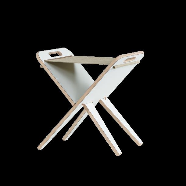 Klaburet - Hvid laminat, sæde hør