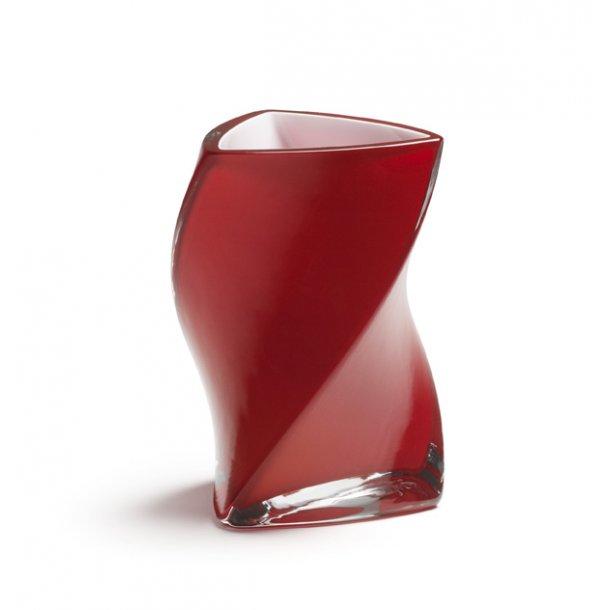 TWISTER-vase 16 cm - RØD ( 3 lag glas ) - 2. sort.